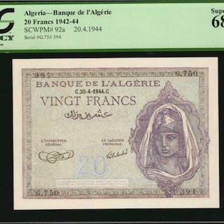 ALGERIA. Banque de l'Algérie. 20 Francs, 1942-44. P-92a. PCGS Currency