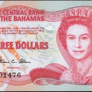 BAHAMAS. Central Bank of the Bahamas. 3 Dollars, 1974 (1984). P-44a.