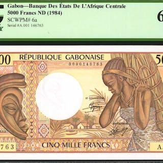GABON. Banque Des Etats De L'Afrique Centrale. 5000 Francs, ND (1984).