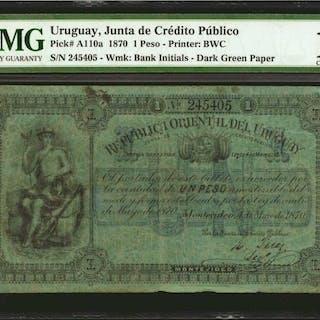 URUGUAY. Junta de Credito Publico. 1 Peso, 1870. P-A110a. PMG Choice Fine 15.