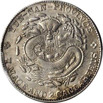CHINA. Yunnan. 7 Mace 2 Candareens (Dollar), ND (1908). PCGS Genuine--Cleaned