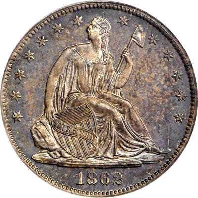 1862 Pattern Liberty Seated Half Dollar. Judd-295, Pollock-353. Rarity-5.