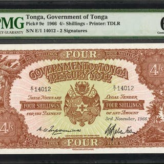 TONGA. Government of Tonga. 4 Shillings, 1966. P-9e. PMG Gem Uncirculated