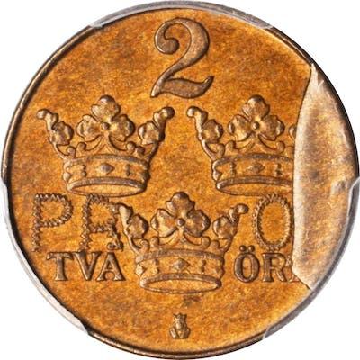 SWEDEN. Mint Error -- Reverse Die Cud -- Copper 2 Ore Prova (Pattern)