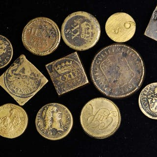 GREAT BRITAIN. Brass Coin Weights (15 Pieces), ND (ca. 17th Century).