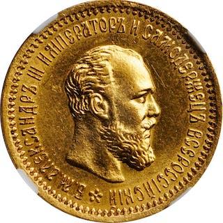 RUSSIA. 5 Rubles, 1892-(AT). St. Petersburg Mint. Alexander III. NGC MS-62.