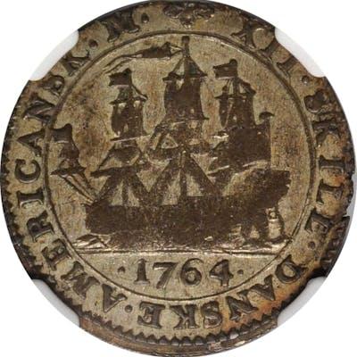 DANISH WEST INDIES. 12 Skilling, 1764. Copenhagen Mint. Frederik V. NGC EF-45.