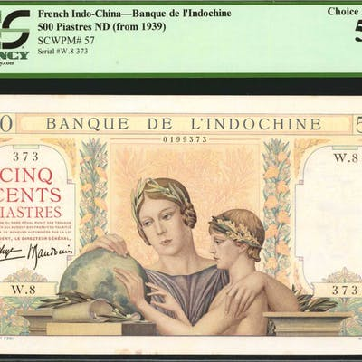 FRENCH INDO-CHINA. Banque de l'Indochine. 500 Piastres, ND (1939).