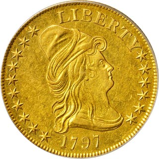 1797 Capped Bust Right Eagle. Heraldic Eagle. BD-2, Taraszka-8. Rarity-4+.
