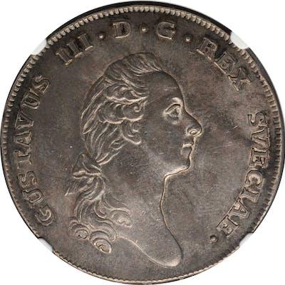 SWEDEN. Riksdaler, 1776-OL. Stockholm Mint. Gustaf III. NGC AU-55.
