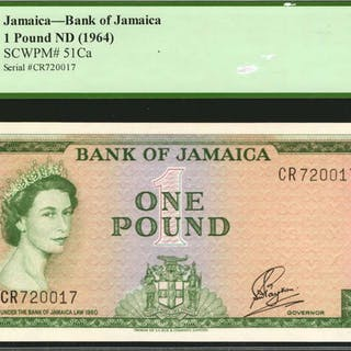 JAMAICA. Bank of Jamaica. 1 Pound, ND (1964). P-51Ca. PCGS Currency