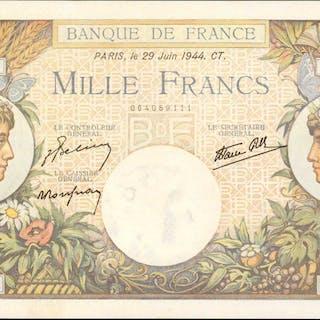 FRANCE. Banque de France. 1000 Francs, 1944. P-96c. About Uncirculated.Pinholes