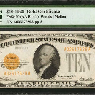 Fr. 2400. 1928 $10  Gold Certificate. PMG Extremely Fine 40.
