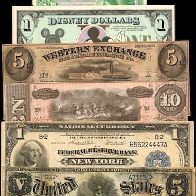 Lot of (7) Miscellaneous Notes. MPCs, Disney Dollars, Obsoletes, Confederate