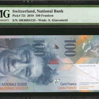 SWITZERLAND. National Bank of Switzerland. 100 Franken, 2010. P-72i.