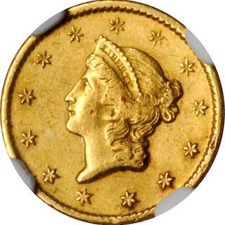 1849-O Gold Dollar. AU Details--Bent (NGC).