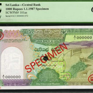 SRI LANKA. Central Bank of Sri Lanka. 1000 Rupees, 1987. P-101as.