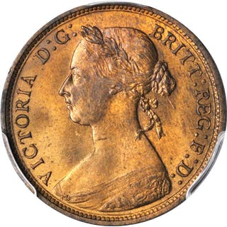 GREAT BRITAIN. 1/2 Penny, 1882-H. Victoria. PCGS MS-64 RB Gold Shield.