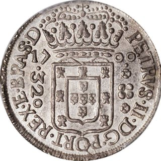 BRAZIL. 320 Reis, 1700-P. Pernambuco Mint. Pedro II. PCGS AU-55 Gold Shield.
