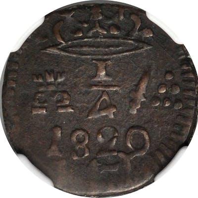 COLOMBIA. Santa Marta. 1/4 Real, 1820. NGC EF-40 Brown.