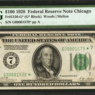 Fr. 2150-G*. 1928 $100  Federal Reserve Star Note. Chicago. PMG Choice