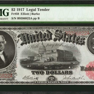 Fr. 58. 1917 $2 Legal Tender Note. PMG Choice About Uncirculated 58 EPQ.