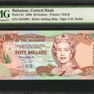 BAHAMAS. Central Bank of Bahamas. 50 Dollars, 1996. P-61. PMG Gem