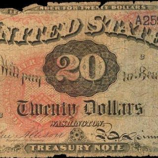 Fr. 127. 1869 $20 Legal Tender Note. Poor.
