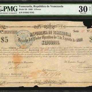 VENEZUELA. Republica de Venezuela. 5 Pesos, 1860. P-20. PMG Very Fine
