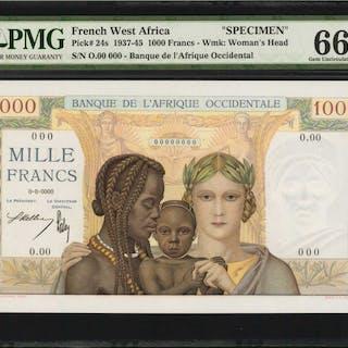 FRENCH WEST AFRICA. Banque de l'Afrique Occidental. 1000 Francs, 1937-45.