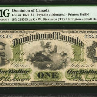CANADA. Dominion of Canada. 1 Dollar, 1870. DC-2a. PMG Very Fine 20.