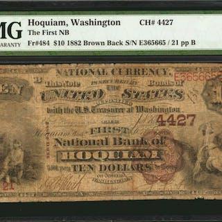 Hoquiam, Washington. $10 1882 Brown Back. Fr. 484. The First NB. Charter