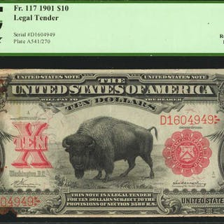 Fr. 117. 1901 $10  Legal Tender Note. PCGS Currency Very Fine 35 Apparent.