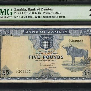 ZAMBIA. Bank of Zambia. 5 Pounds, ND (1964). P-3. PMG Very Fine 25.