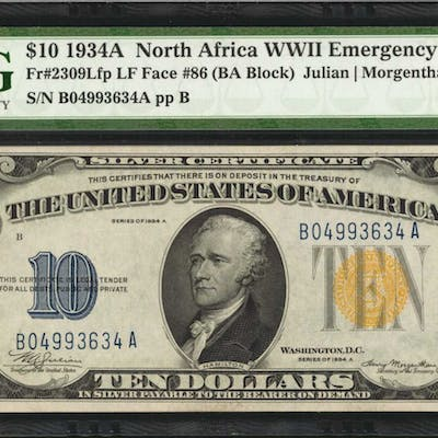 Fr. 2309Lfp. 1934A $10 North Africa Emergency Note. PMG About Uncirculated 55.