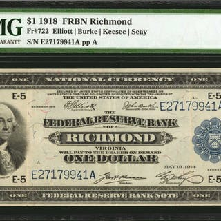 Fr. 722. 1918 $1  Federal Reserve Bank Note. Richmond. PMG Choice Very Fine 35.