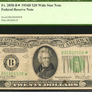 Fr. 2058-B*. 1934D $20  Federal Reserve Wide Star Note. New York.