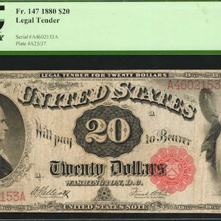 Fr. 147. 1880 $20  Legal Tender Note. PCGS Currency Very Fine 20.