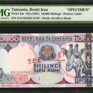 TANZANIA. Benki Kuu. 10,000 Shilingi, ND (1997). P-33s. Specimen.
