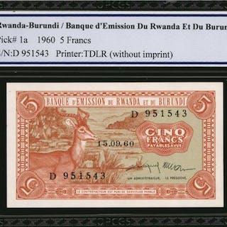 RWANDA-BURUNDI. Banque d'Emission du Rwanda et du Burundi. 5 Francs