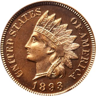 1893 Indian Cent. Snow-Unlisted. Proof-66 RD Cameo (PCGS). CAC.