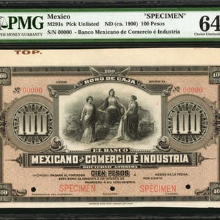 MEXICO. Banco Mexicano de Comercio e Industria. 100 Pesos, ND (ca.