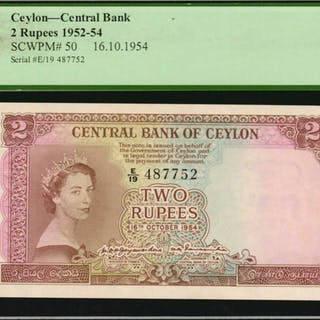 CEYLON. Central Bank. 2 Rupees, 1952-54. P-50. PCGS Currency Gem New 65 PPQ.