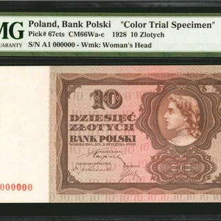 POLAND. Bank Polski. 10 Zlotych, 1928. P-67cts. Color Trial Specimen.