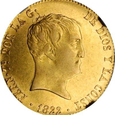 SPAIN. 160 Reales, 1822-M SR. Madrid Mint. Ferdinand VII. NGC AU-55.