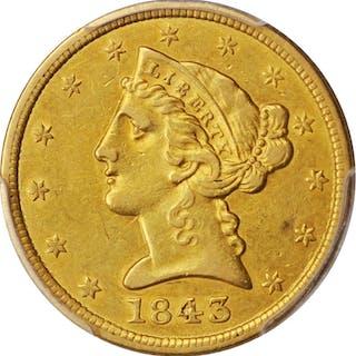 1843 Liberty Head Half Eagle. AU-50 (PCGS).