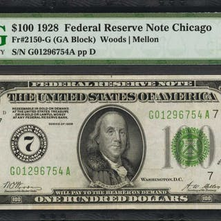Fr. 2150-G. 1928 $100  Federal Reserve Note. Chicago. PMG Choice Very Fine 35.