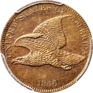 1856 Flying Eagle Cent. Snow-9. Proof-65 (PCGS).