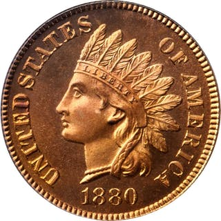 1880 Indian Cent. Snow-PR1. Repunched Date. Proof-67 RD Cameo (PCGS). CAC.