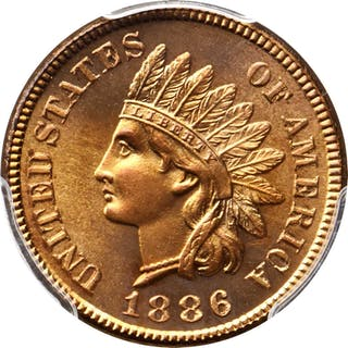 1886 Indian Cent. Type I Obverse. Snow-PR2. Repunched Date. Proof-66